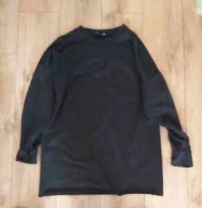 Ladies 'BOOHOO' Black long sleeve frayed hem Jumper dress. Size 12. vgc.