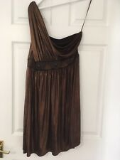 ASOS Party One Shoulder Dress in Copper Brown metalic size 14