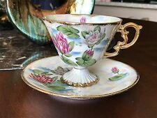 Vintage footed tea cup and saucer  - July 'Waterlily' - Norleans - Japan