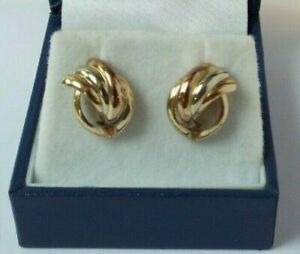 Vintage Quality Unoaerre  9ct Three Coloured Gold Earrings -