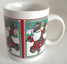 Noel Christmas Holiday White Coffee Mug with Jolly Santa Claus. WBI