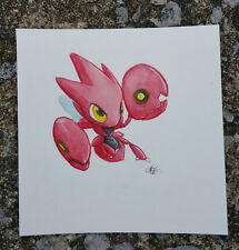 pokemon watercolor painting Cute Bug Pokemon Scizor Red gen 2