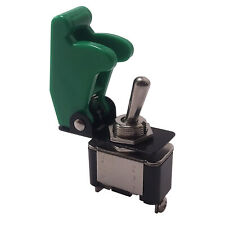 Heavy Duty On Off Metal Toggle Switch 25A 12V & Green Switch Flip Up Cover - UK
