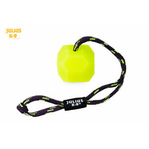 Julius-K9 IDC® Fluorescent dog ball on a rope soft puppy training chew toy