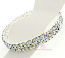 Ab Crystal Stretch Silver Fashion Anklet Beauty for Ashes 3 Row Aurora Borealis