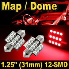 "2x 1.25"" 31mm Festoon 12-SMD Map Dome Red LED Lights Bulbs DE3157 DE3022"