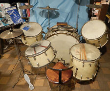 1940'S LEEDY DRUM KIT SET W/ SNARE CYMBALS DRUM THRONE TOM BASS STANDS TRAP