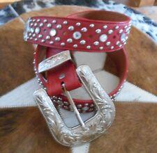 Red Bling Western Belt-Sm Ladies Or Kids Genuine Leather Western Belt Size 30
