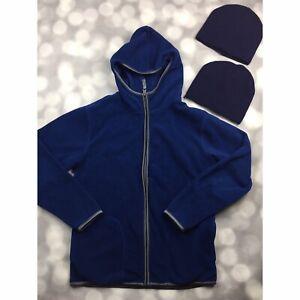 Old Navy Full Zip Fleece Hoodie Jacket Boys XL 14-16 + 2 Knit Beanie Hats