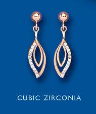 Oro Rosa Pendientes Marquesita Pendientes Piedra Transparente Set Pendientes