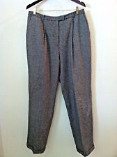 Nordstrom 16 women pant gray black speckled wool dress work trouser lined size