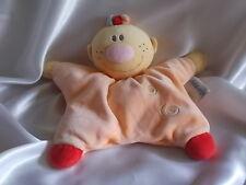 Doudou personnage orange, spirales, grelot, semi-plat, Nattou