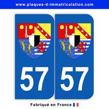 Stickers pour plaque département 57 Moselle (jeu de 2 stickers) blason