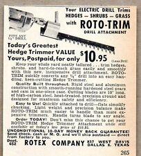 1952 Print Ad Roto-Trim Electric Drill Attachment Trims Hedges Rotex Dallas,TX
