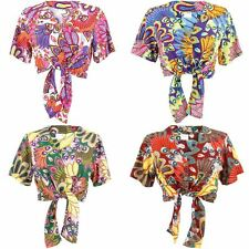 Tie Front Top Women Tropical Hawaiian Print Party Blouse Shirt Loud Siesta