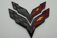 Black Carbon Flash Front & Rear Cross Flags Emblem Kit For Corvette C7 2014-2017