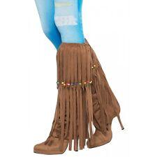 Hippie Girl Costume Beaded Long Fringe Leg Warmers Adult Halloween Fancy Dress