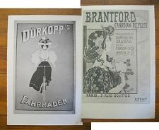 """1973 PRINT/POSTER/AD~1900 DURKOPP BICYCLES~1901 BRANTFORD CANADIAN BIKES~16""""x11"""""""