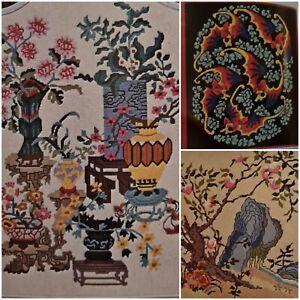 Oriental Needlepoint Pattern Book Brent Embroidery Asian Bat Dragon Koi Phoenix
