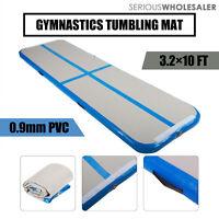 Inflatable Air Track  Home Outdoor Gymnastics Tumbling Mat PVC Grey+Blue W/ Pump