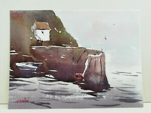 Boats by harbour wall seaside art Original watercolour painting