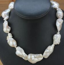 "HUGE 18""20-30mm Natural south sea genuine white baroque pearl necklace"
