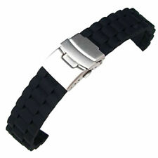 Silicone Rubber Divers Watch Strap Band Waterproof Deployment Clasp 18 20 22  GM