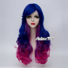 65CM Lolita Gothic Blue Mixed Magenta Ombre Long Curly Hair Ladies Cosplay Wig
