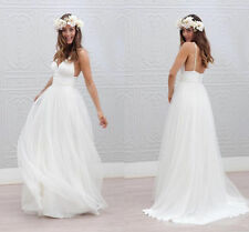 Spaghetti Beach Wedding Dress Bridal Gown White Ivory Size 2 4 6 8 10 12 14 16