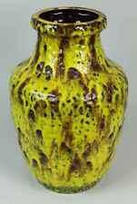 Große BAY Keramik Vase - gelb/braune Lasur & Oberflächenstruktur - 60/70er /S121