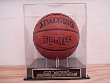 Basketball Display Case W/ A Michael Jordan Chicago Bulls Engraved Nameplate