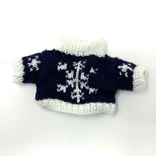 "Hand Knit Bear Sweater Chest 6"" Navy & White"