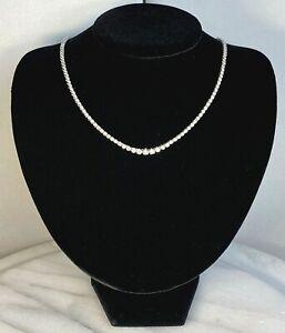 "Platinum Diamond Graduated Riviera Necklace Mid-Century Vintage 17"" Mid-Century"