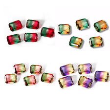 3.3 CT 9 * 11 MM Watermelon Natural Tourmaline Emerald Cut Loose Gems Wholesale