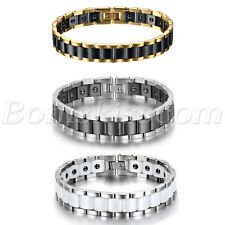 Men's Wide Ceramic Link Stainless Steel Health Power Therapy Magnetic Bracelet