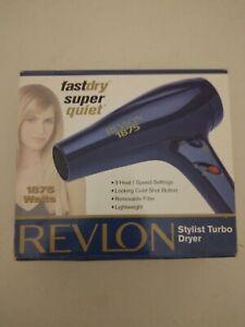 New Revlon 1875 Watt Fast Dry Super Quiet Hair Dryer Model RV406 (Blue)