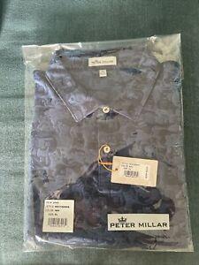 Peter Millar Carl Guitar Camo Jacquard Polo Color Navy Size XL Brand New in Bag