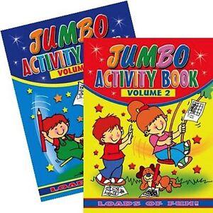 2 x JUMBO CHILDRENS KIDS PUZZLE COLOURING ACTIVITY FUN BOOKS DOT TO DOT UK 1+2