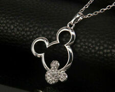 CRYSTAL MICKEY MOUSE PENDANT NECKLACE. SILVER PLATED