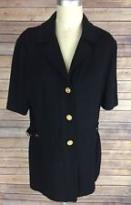 ST. JOHN Collection by Marie Gray Knit Tunic Jacket Black Blazer Sz. 8