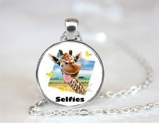 Giraffe Selfie PENDANT NECKLACE Chain Glass Tibet Silver Jewellery