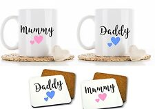 Personalised set of 2 mummy daddy mugs mug cups cup gift new baby parent
