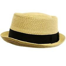 5ba251891e3 Men s Cool Summer Straw Pork Pie Derby Fedora Upturn Brim Hat