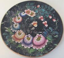 Tole Plate Hand Painted Signed Ceramic Folk Art Toleware Peru