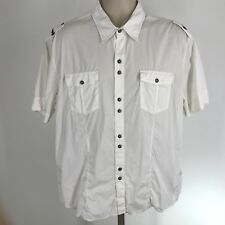 7 Diamonds 2XL xxl cotton blend short sleeve button front white mens Shirt