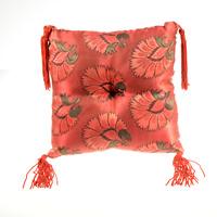 Poppy Singing Bowl Pillow Cushion 8in Handmade Red Silk Brocade Nepal A075-01