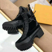 NS09 Womens Shoes Designer Inspired Leather Lace Up Black Boots Winter Shoes