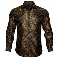 Men's Shirt Long Sleeve Dress Black Gold Paisley Button Shirt Lot XL Fashion Hot
