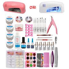 Nail Art Tools Set 9W UV Lamp Dryer & 12 Color Glitter Powder Pen Tips UV Gel