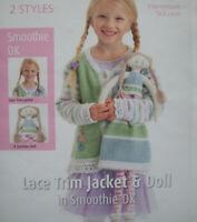 Girls Cardigan Rag Doll Toy KNITTING PATTERN Smoothie DK 22 -30in 2 -10y Ragdoll